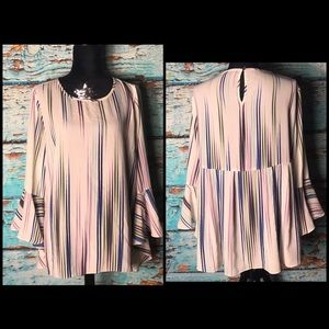 Vince Camuto Striped Boho Bell Sleeve Top
